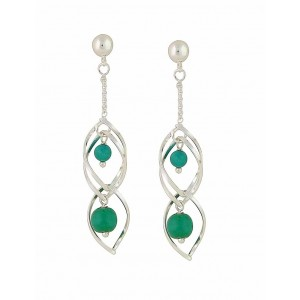 Turquoise Duet Caged Silver Drop Earrings