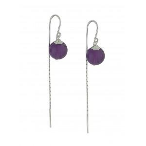 Amethyst Detail Bead Threader Earrings
