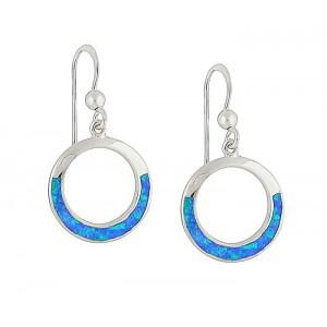 Blue Opal Rimmed Silver Earrings