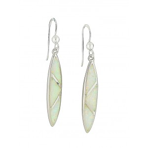 White Opal Shielded Drop Earrings