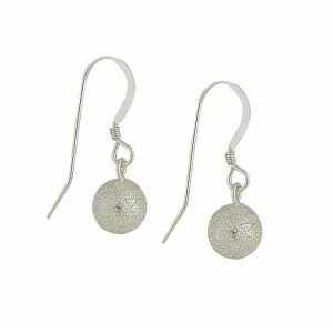 Frosted Silver Ball Drop Earrings