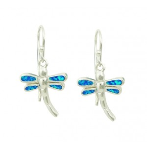 Blue Opal Winged Drop Earrings