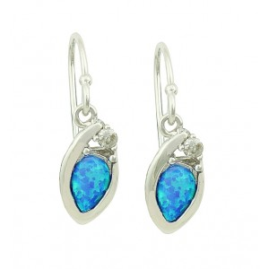Nestled Blue Opal Silver Earrings