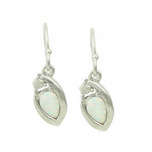 Nestled White Opal Silver Earrings