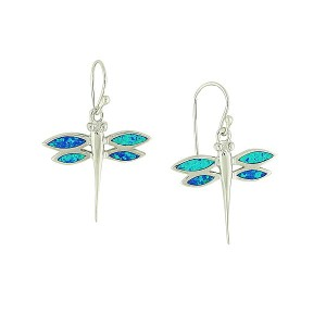 Delicate Dragonfly Blue Opal Drop Earrings