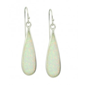 Elongated White Opal Long Earrings