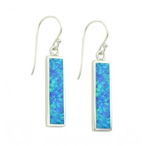 Blue Opal Rectangular Feature Drop Earrings