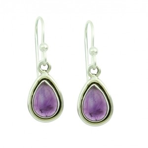 Amethyst Droplet Silver Earrings