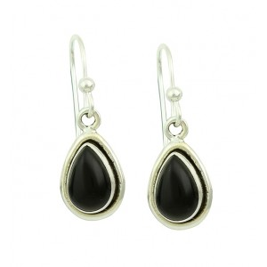 Black Onyx Droplet Silver Earrings