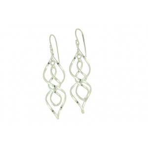 Labyrinth Silver Long Earrings