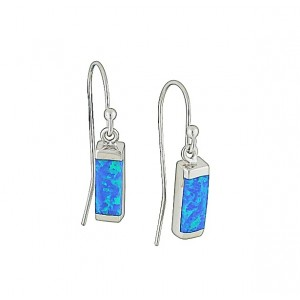 Blue Opal Cuboid Silver Earrings