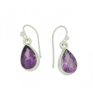 Faceted Amethyst Vintage Drop Earrings