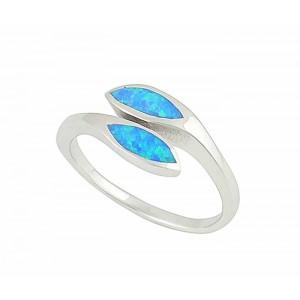Dual Marquis Blue Opal Silver Ring