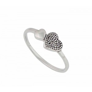 Plain and Dotted Heart Silver Ring