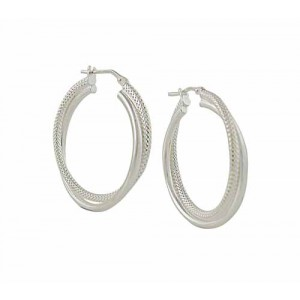 Textured and Plain Silver Hoop Earrings - 30mm