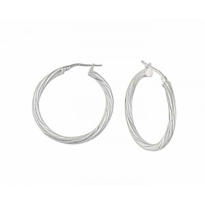 Silver Twist Hoop Earrings - 30mm