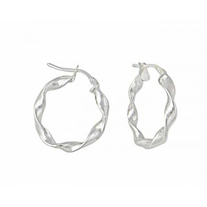 Silver Twist Hoop Earrings - 25mm