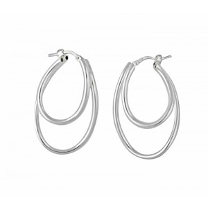 Double Curved Oval Hoop Earrings