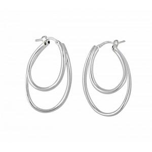 Double Curved Oval Hoop Earrings