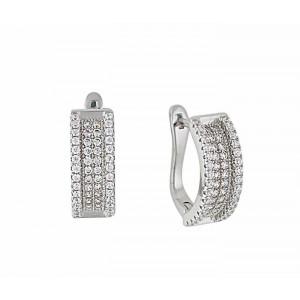Four Row Cubic Zirconia Silver Hoop Earrings 18mm