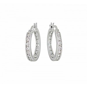 Cubic Zirconia Small Silver Hoop Earrings 16mm