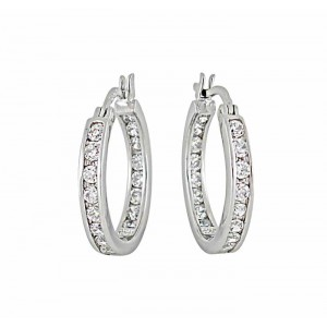 Cubic Zirconia Silver Hoop Earrings 18mm