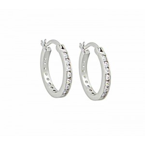 Sterling Silver and Cubic Zirconia Small Hoop Earrings 16mm