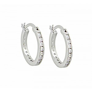 Sterling Silver and Cubic Zirconia Hoop Earrings 18mm