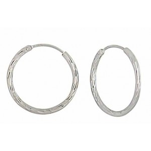 Diamond Cut Silver Hoop Earrings 22mm