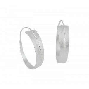 Matt Finish Silver Hoop Earrings