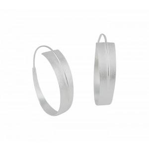 Matt Finish Silver Hoop Earrings