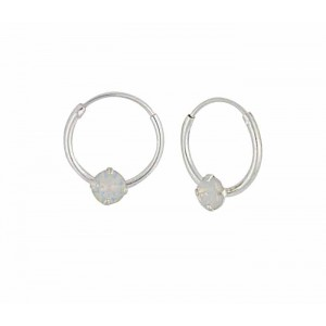 Swarovski White Opal Silver Hoop Earrings