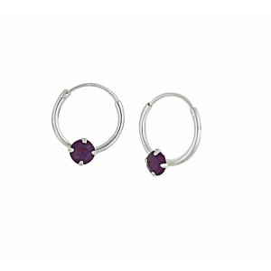 Swarovski Cyclamen Opal Silver Hoop Earrings - 12mm