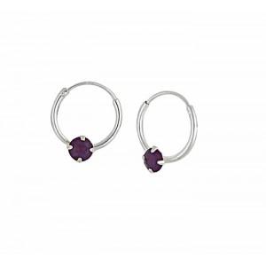 Swarovski Cyclamen Opal Silver Hoop Earrings - 12mm