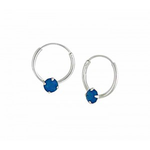 Swarovski Caribbean Blue Opal Silver Hoop Earrings - 12mm