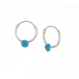 Swarovski Turquoise Opal Silver Hoop Earrings - 12mm