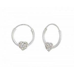 12mm Silver Heart Hoop Earrings
