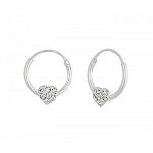 12mm Silver Heart Hoop Earrings