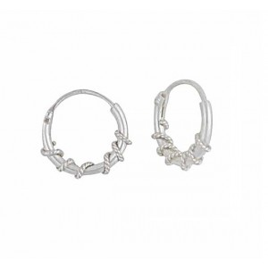 Twisted Small Silver Hoop Earrings - 10mm