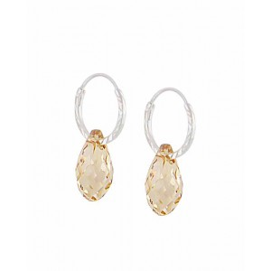 Swarovski Golden Shadow Teardrop Silver Hoop Earrings - 12mm