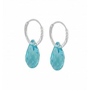 Swarovski Light Turquoise Teardrop Silver Hoop Earrings - 12mm