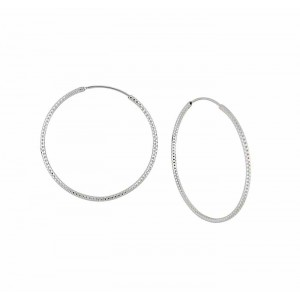 Textured Design Large Silver Hoop Earrings - 42mm