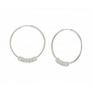 30mm Silver Hoop Earrings with Rings