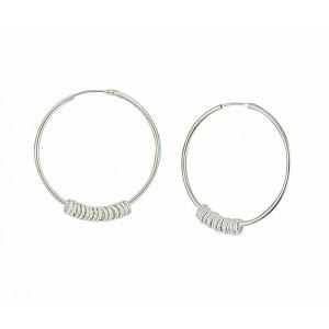 30mm Silver Hoop Earrings with Rings