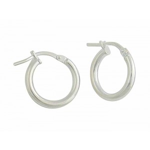 Small Plain Silver Creole Earrings - 13mm