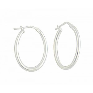 Oval Plain Silver Creole Earrings - 25mm