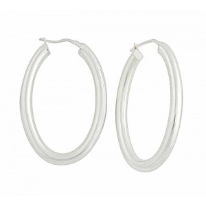 Large Oval Plain Creole Earrings - 42mm