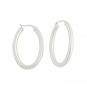 Oval Plain Silver Creole Earrings - 30mm