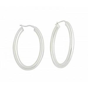 Oval Plain Silver Creole Earrings - 30mm