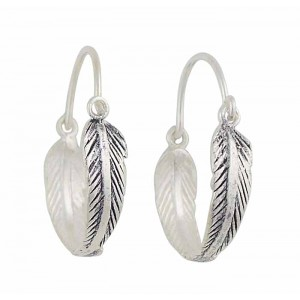 Silver Feather Hoop Earrings 22mm